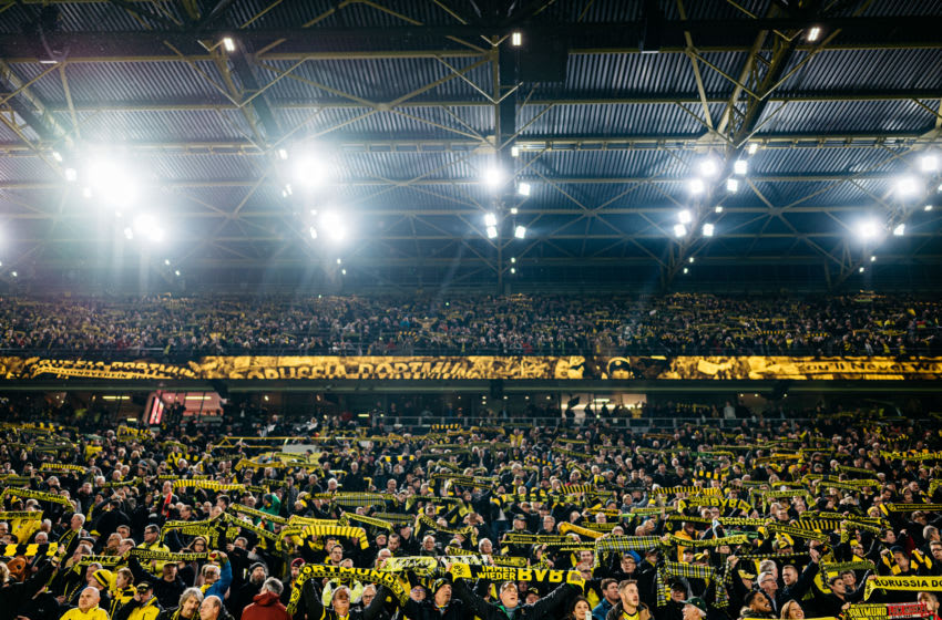 DORTMUND, GERMANY - DECEMBER 17: Fans of Dortmund are seen during the Bundesliga match between Borussia Dortmund and RB Leipzig at Signal Iduna Park on December 17, 2019 in Dortmund, Germany. (Photo by Alexander Scheuber/Bundesliga/Bundesliga Collection via Getty Images)