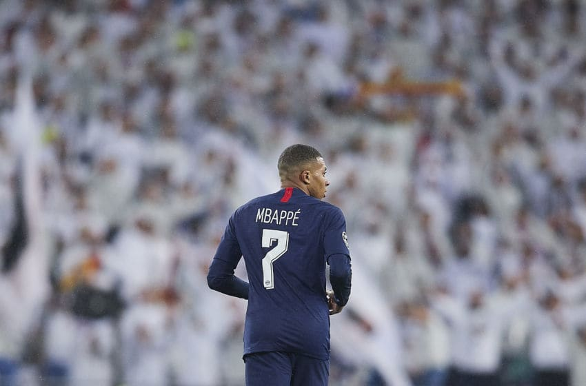MADRID, SPAIN - NOVEMBER 26: Kylian Mbappe of Paris Saint Germain looks on during the UEFA Champions League group A match between Real Madrid and Paris Saint-Germain at Bernabeu on November 26, 2019 in Madrid, Spain. (Photo by Quality Sport Images/Getty Images)