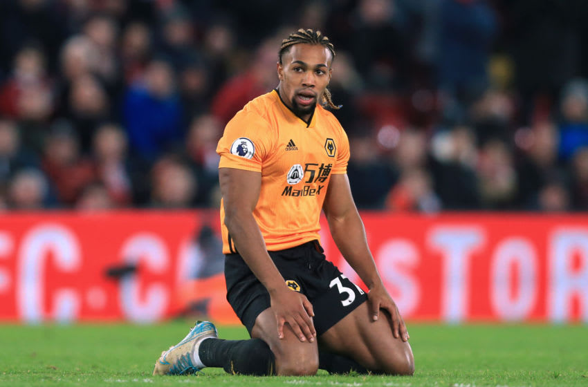 LIVERPOOL, ENGLAND - DECEMBER 29: Adama Traore of Wolves looks dejected during the Premier League match between Liverpool FC and Wolverhampton Wanderers at Anfield on December 29, 2019 in Liverpool, United Kingdom. (Photo by Simon Stacpoole/Offside/Offside via Getty Images)