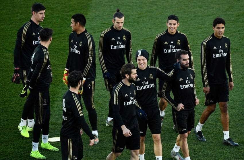 Real Madrid's players attend a public training session at the Ciudad Real Madrid training ground in Valdebebas, Madrid, on December 30, 2019. (Photo by OSCAR DEL POZO / AFP) (Photo by OSCAR DEL POZO/AFP via Getty Images)