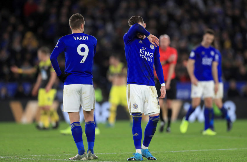 Leicester City's James Maddison (centre) looks dejected after his side concede a second goal during the Premier League match at the King Power Stadium, Leicester. (Photo by Mike Egerton/PA Images via Getty Images)
