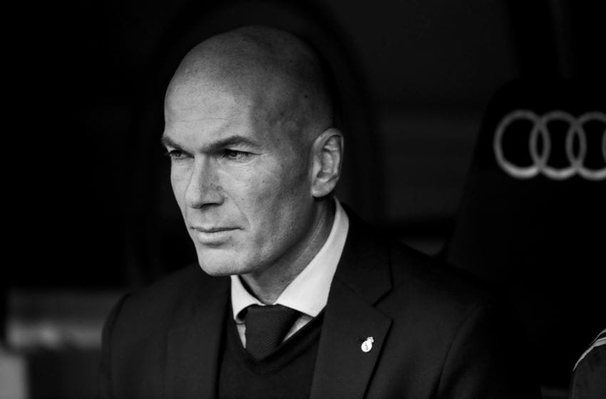 MADRID, SPAIN - FEBRUARY 1: coach Zinedine Zidane of Real Madrid during the La Liga Santander match between Real Madrid v Atletico Madrid at the Santiago Bernabeu on February 1, 2020 in Madrid Spain (Photo by David S. Bustamante/Soccrates/Getty Images)