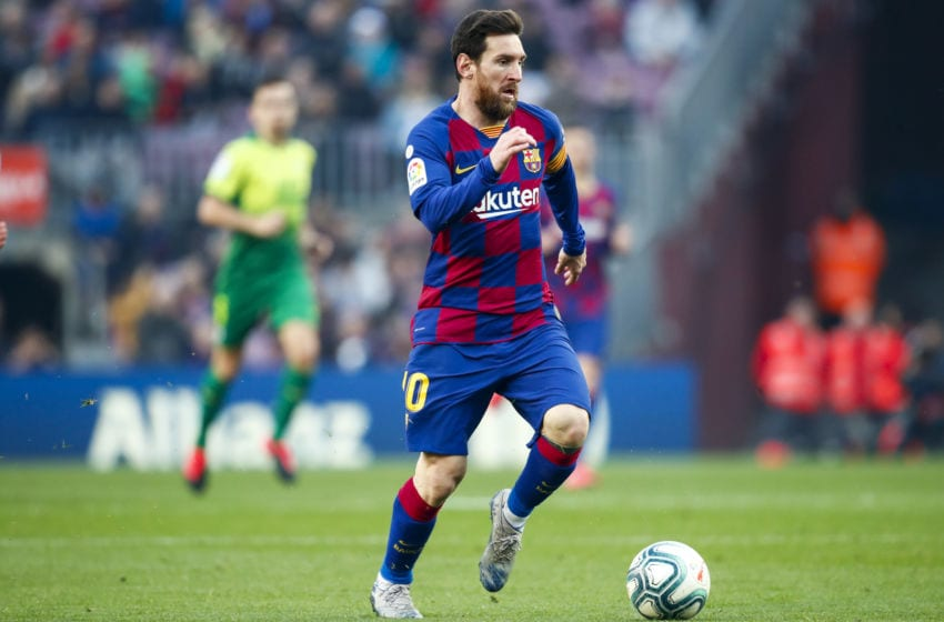 BARCELONA, SPAIN - FEBRUARY 22: Lionel Messi of FC Barcelona during the La Liga Santander match between FC Barcelona v Eibar at the Camp Nou on February 22, 2020 in Barcelona Spain (Photo by David S. Bustamante/Soccrates/Getty Images)