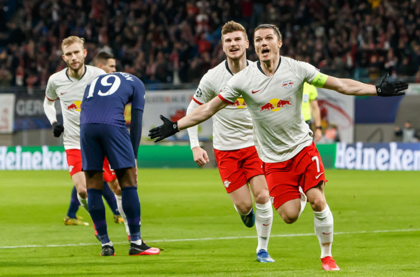 LEIPZIG, GERMANY - MARCH 10: (BILD ZEITUNG OUT) Marcel Sabitzer of RB Leipzig is celebrating his first goal during the UEFA Champions League round of 16 second leg match between RB Leipzig and Tottenham Hotspur at Red Bull Arena on March 10, 2020 in Leipzig, Germany. (Photo by Roland Krivec/DeFodi Images via Getty Images)