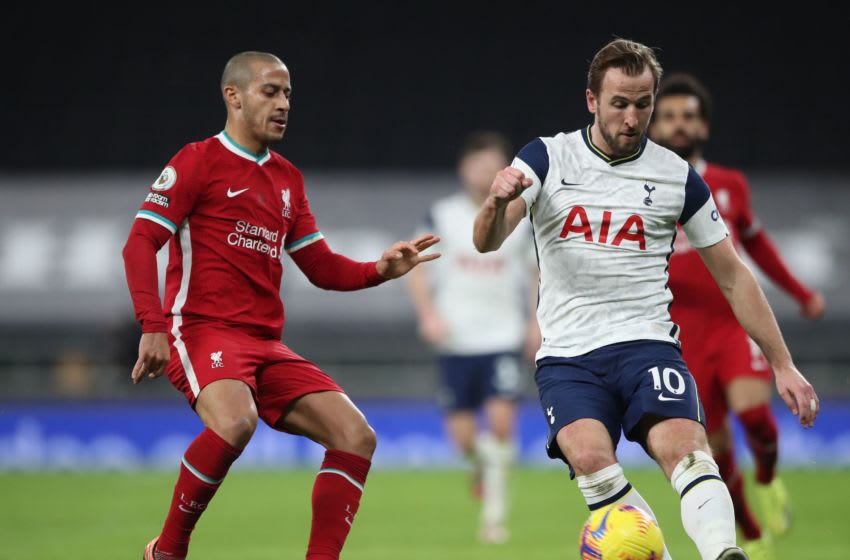 Liverpool's Spanish midfielder Thiago Alcantara and Tottenham Hotspur's English striker Harry Kane.