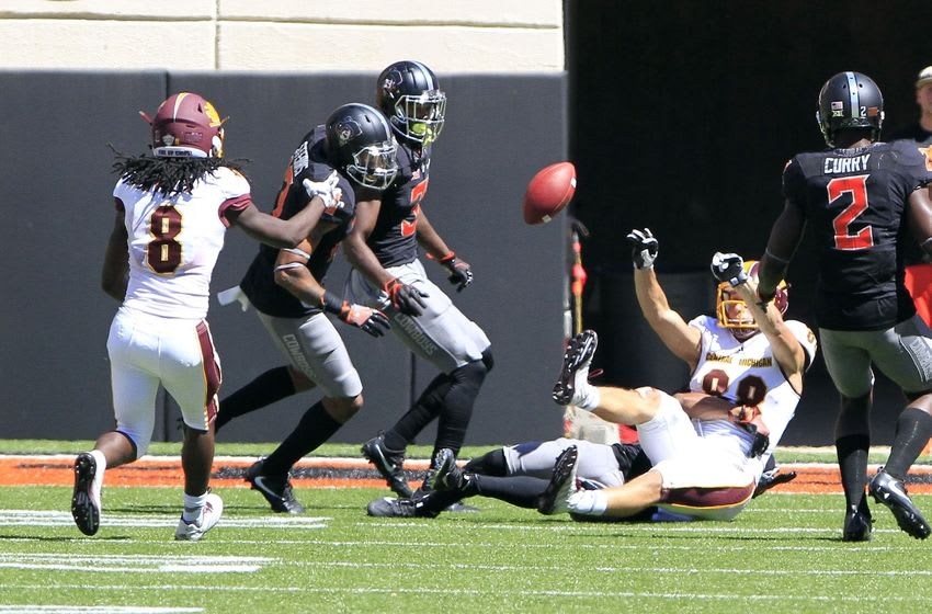 Sep 10, 2016; Stillwater, OK, USA; Central Michigan Chippewas wide receiver Jesse Kroll (88) passes the ball to Central Michigan Chippewas wide receiver Corey Willis (8) during the fourth quarter at Boone Pickens Stadium. Central Michigan won 30-27. Mandatory Credit: Alonzo Adams-USA TODAY Sports