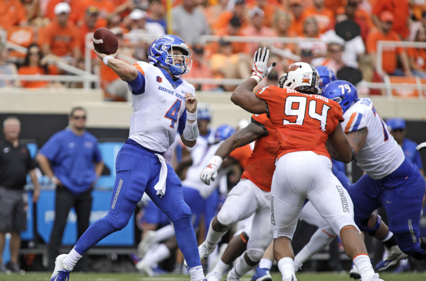 STILLWATER, OK - SEPTEMBER 15: Quarterback Brett Rypien #4 of the Boise State Broncos looks to throw against the Oklahoma State Cowboys at Boone Pickens Stadium on September 15, 2018 in Stillwater, Oklahoma. (Photo by Brett Deering/Getty Images)
