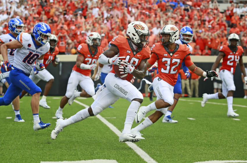 STILLWATER, OK - SEPTEMBER 15: Safety Za'Carrius Green #18 of the Oklahoma State Cowboys grabs a blocked punt against the Boise State Broncos at Boone Pickens Stadium on September 15, 2018 in Stillwater, Oklahoma. The Cowboys defeated the Broncos 44-21. (Photo by Brett Deering/Getty Images)