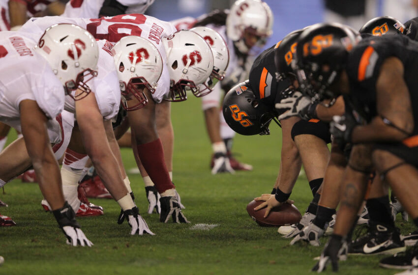 GLENDALE, AZ - JANUARY 02: The Stanford Cardinal defense lines up on the line of scrimmage against the Oklahoma State Cowboys during the Tostitos Fiesta Bowl on January 2, 2012 at University of Phoenix Stadium in Glendale, Arizona. (Photo by Doug Pensinger/Getty Images)