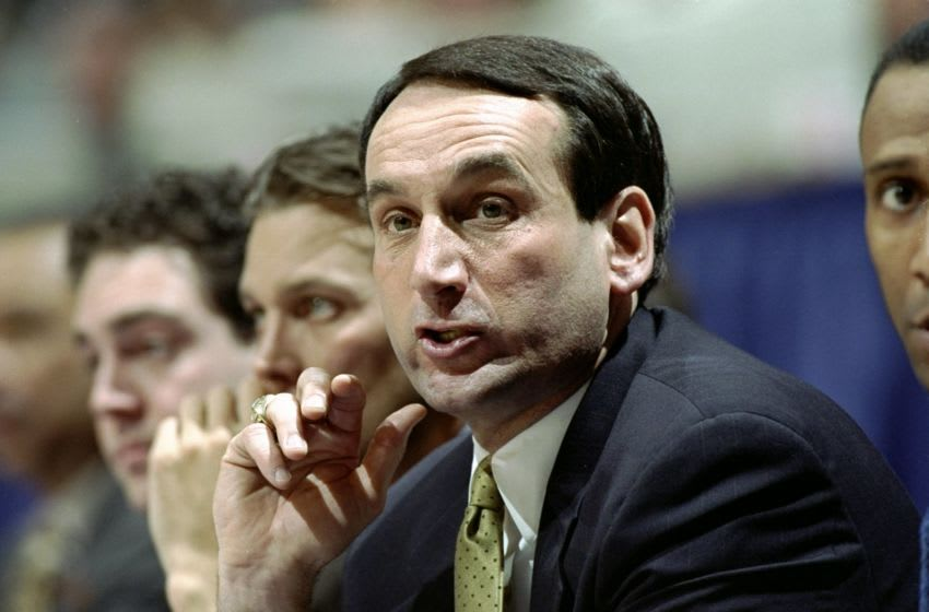 15 Mar 1998: Coach Mike Krzyzewski of the Duke Blue Devils looks on during NCAA Tournament game against the Oklahoma State Cowboys at Rupp Arena in Lexington, Kentucky. Mandatory Credit: Todd Warshaw /Allsport