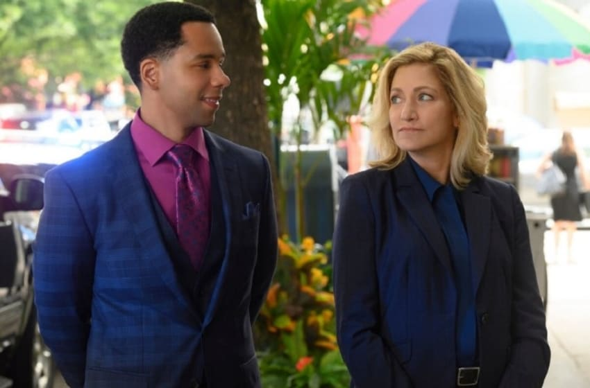 Pictured L-R: Vladimir Caamaño as Abner Diaz and Edie Falco as Abigail