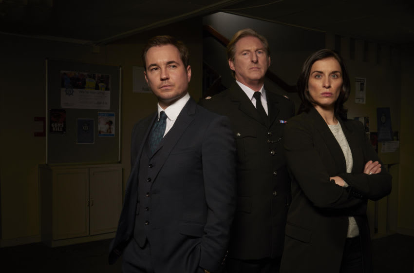 From left: Martin Compston, Adrian Dunbar, Vicky McClure from Line of Duty. Photo Credit: Des Willie/Courtesy of Acorn TV.