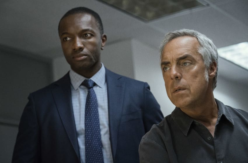 Photo: Jamie Hector and Titus Welliver in Season 4 of Bosch... Credit: Aaron Epstein / Amazon Prime Video.