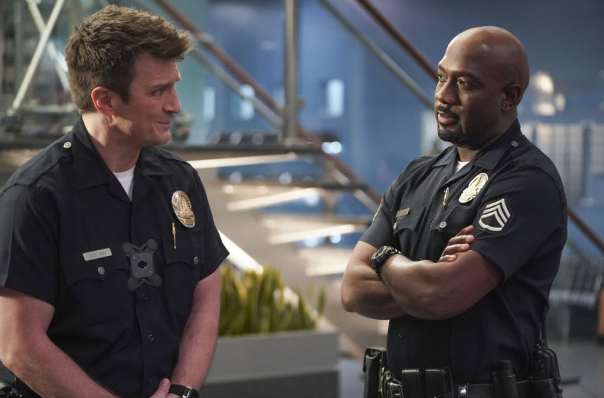 """THE ROOKIE - """"Amber"""" – An Amber Alert sends the team on a race against time to find a newborn infant who was stolen from a local hospital. Meanwhile, Officers Jackson and Chen work their last shift as rookies as Officer Nolan continues on for 30 more days on """"The Rookie,"""" SUNDAY, APRIL 4 (10:00-11:00 p.m. EDT), on ABC. (ABC/Eric McCandless) NATHAN FILLION, RICHARD T. JONES"""
