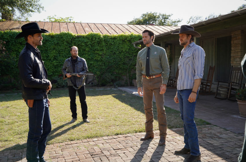 """Walker -- """"Defend The Ranch"""" -- Image Number: WLK113a_0134r -- Pictured (L-R): Austin Nichols as Clint West, Jared Padalecki as Cordell Walker and Matthew Barr as Hoyt -- Photo: Rebecca Brenneman/The CW -- © 2021 The CW Network, LLC. All Rights Reserved."""