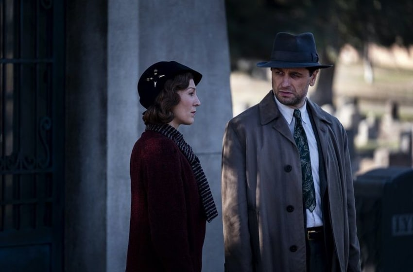 Juliet Rylance (left) and Matthew Rhys in Perry Mason. (Photo Credit: Merrick Morton/Courtesy of HBO.)
