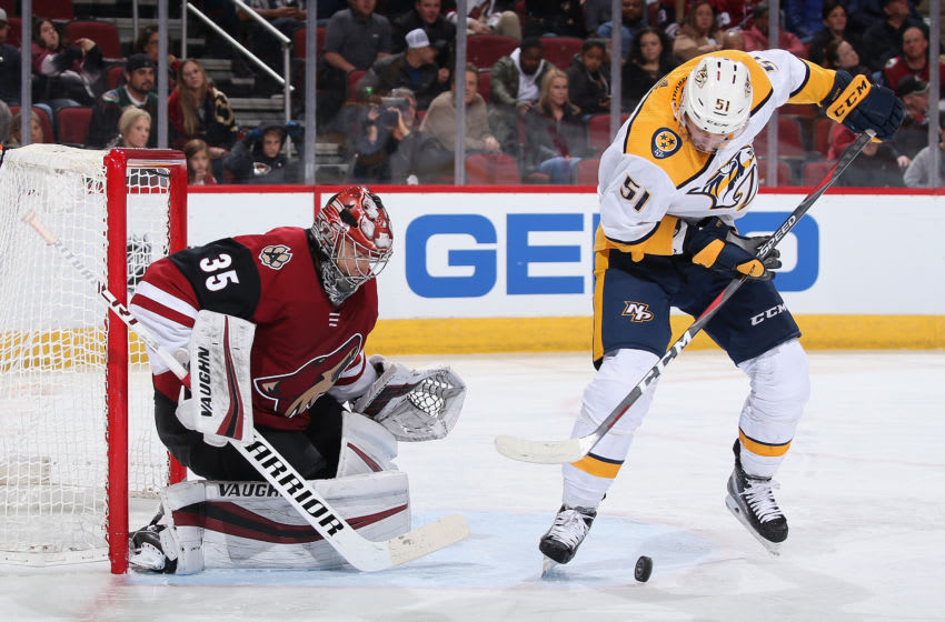 Goaltender Darcy Kuemper #35 of the Arizona Coyotes protects the net as Austin Watson #51 of the Nashville Predators (Photo by Christian Petersen/Getty Images)