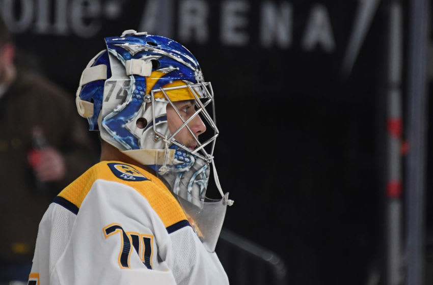 Juuse Saros #74 of the Nashville Predators (Photo by Ethan Miller/Getty Images)