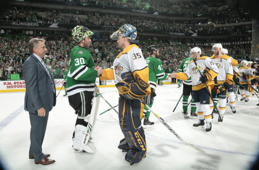 DALLAS, TX - APRIL 22: Ben Bishop #30 of the Dallas Stars shakes hands with Pekka Rinne #35 of the Nashville Predators after the Stars defeated the Predators in Game Six of the Western Conference First Round during the 2019 NHL Stanley Cup Playoffs at the American Airlines Center on April 22, 2019 in Dallas, Texas. (Photo by Glenn James/NHLI via Getty Images)