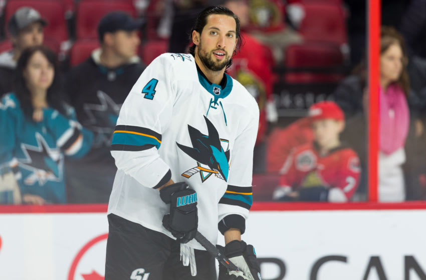 OTTAWA, ON - OCTOBER 27: San Jose Sharks defenseman Brenden Dillon (4) during warm-up before National Hockey League action between the San Jose Sharks and Ottawa Senators on October 27, 2019, at Canadian Tire Centre in Ottawa, ON, Canada. (Photo by Richard A. Whittaker/Icon Sportswire via Getty Images)