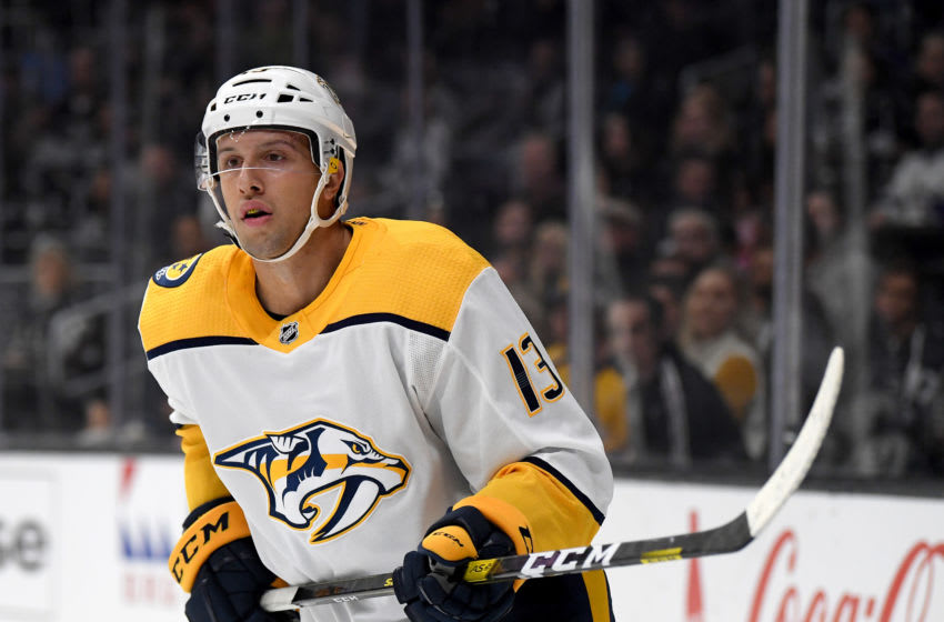 LOS ANGELES, CALIFORNIA - OCTOBER 12: Nick Bonino #13 of the Nashville Predators skates after the play during a 7-4 Los Angeles Kings win at Staples Center on October 12, 2019 in Los Angeles, California. (Photo by Harry How/Getty Images)