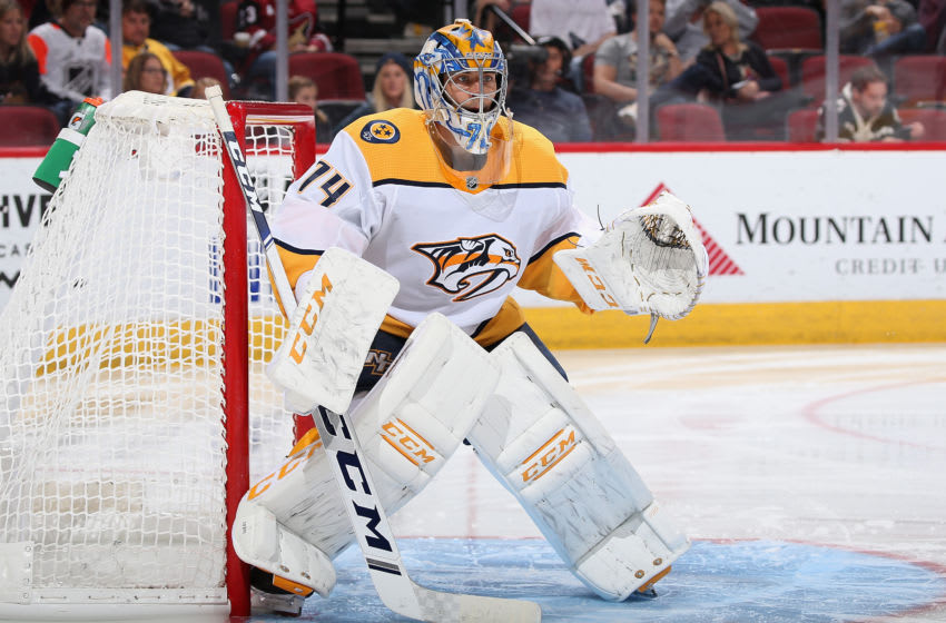 GLENDALE, ARIZONA - OCTOBER 17: Goaltender Juuse Saros #74 of the Nashville Predators in action during the third period of the NHL game against the Arizona Coyotes at Gila River Arena on October 17, 2019 in Glendale, Arizona. (Photo by Christian Petersen/Getty Images)
