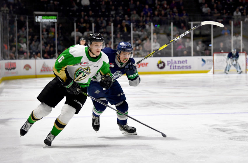 Kaiden Guhle #6 of the Prince Albert Raiders (Photo by Alika Jenner/Getty Images)