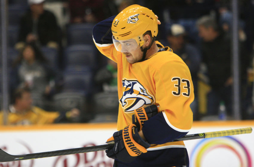 Nashville Predators right wing Viktor Arvidsson (33) is shown during the NHL game between the Nashville Predators (Photo by Danny Murphy/Icon Sportswire via Getty Images)