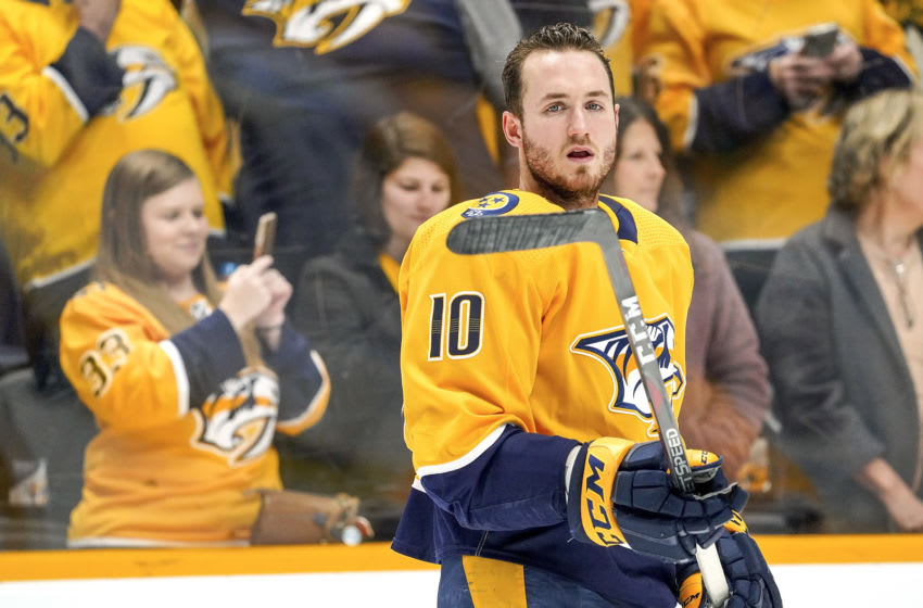 NASHVILLE, TN - DECEMBER 14: Colton Sissons #10 of the Nashville Predators skates in warm-ups prior to the game against the Dallas Stars at Bridgestone Arena on December 14, 2019 in Nashville, Tennessee. (Photo by John Russell/NHLI via Getty Images)