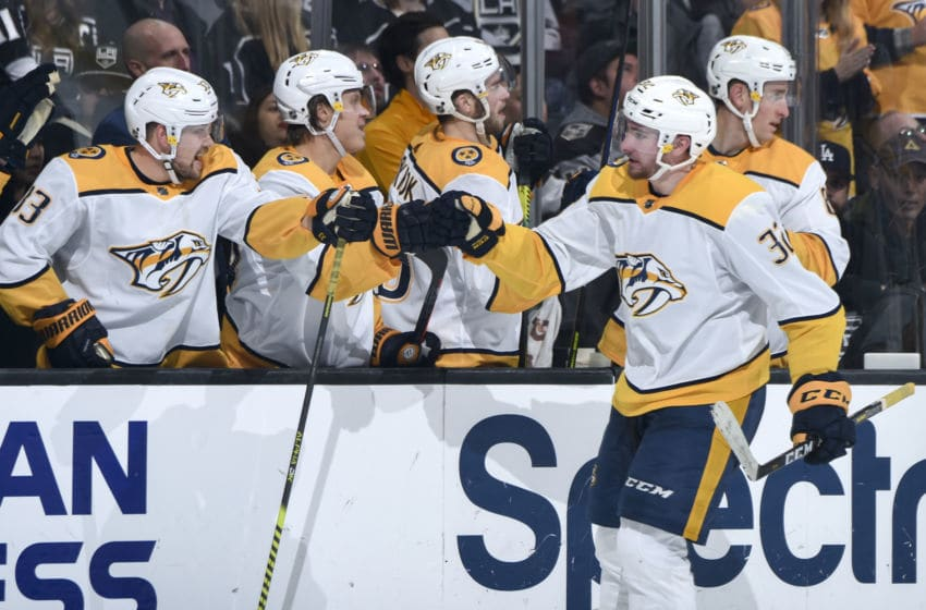 LOS ANGELES, CA - JANUARY 4: Yakov Trenin #32 of the Nashville Predators celebrates his goal with teammates during the third period against the Los Angeles Kings at STAPLES Center on January 4, 2019 in Los Angeles, California. (Photo by Adam Pantozzi/NHLI via Getty Images)