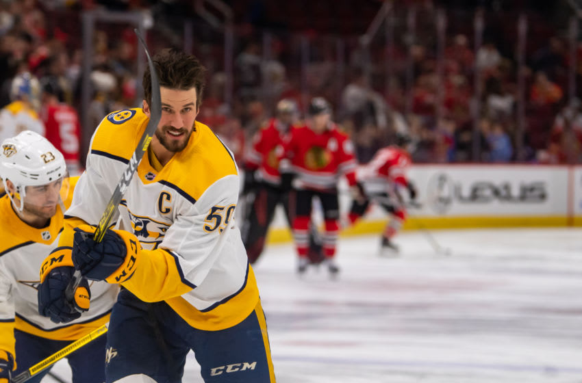 CHICAGO, IL - JANUARY 09: Nashville Predators defenseman Roman Josi (59) warms up prior to a game between the Nashville Predators and the Chicago Blackhawks on January 9, 2020, at the United Center in Chicago, IL. (Photo by Patrick Gorski/Icon Sportswire via Getty Images)