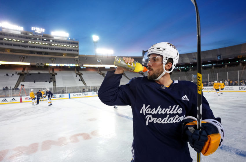 DALLAS, TEXAS - DECEMBER 31: Roman Josi #59 of the Nashville Predators attends practice ahead of the 2020 Bridgestone NHL Winter Classic at Cotton Bowl on December 31, 2019 in Dallas, Texas. The 2020 NHL Winter Classic will be played on January 1, 2020. (Photo by John Russell/NHLI via Getty Images)