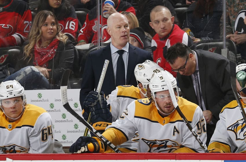 NEWARK, NJ - JANUARY 30: Former Head Coach of the New Jersey Devils, John Hynes now Head Coach of the Nashville Predators, looks on from behind the bench during the game at the Prudential Center on January 30, 2020 in Newark, New Jersey. (Photo by Andy Marlin/NHLI via Getty Images)