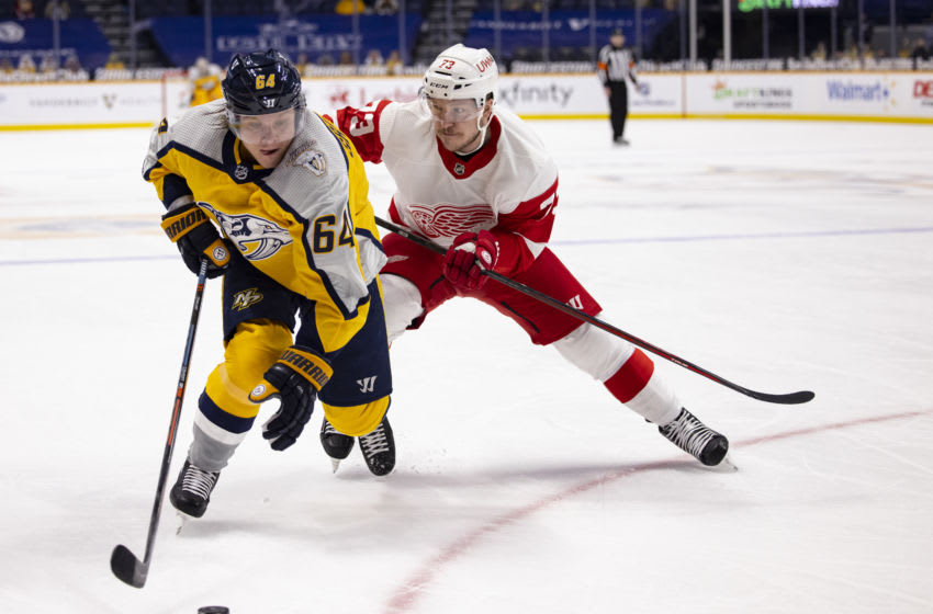 Adam Erne #73 of the Detroit Red Wings checks Mikael Granlund (Photo by Brett Carlsen/Getty Images)