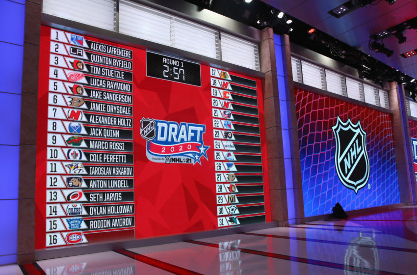 SECAUCUS, NEW JERSEY - OCTOBER 06: A closeup view of the draft board during the 2020 National Hockey League (NHL) Draft at the NHL Network Studio on October 06, 2020 in Secaucus, New Jersey. (Photo by Mike Stobe/Getty Images)