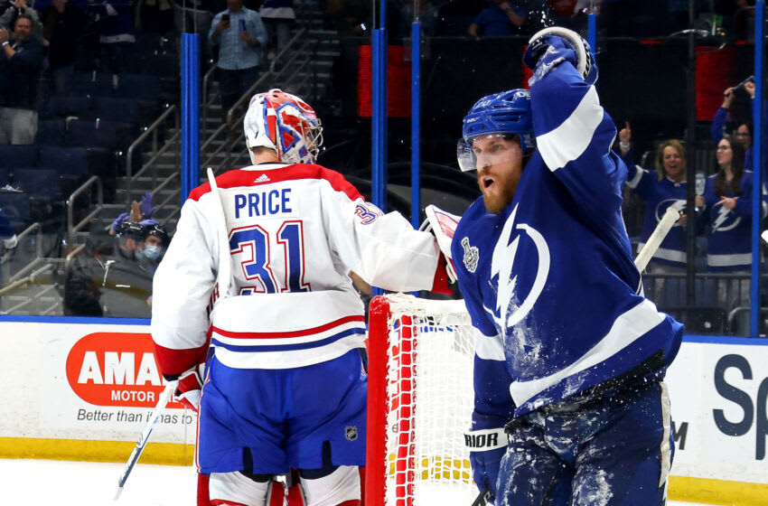 Blake Coleman #20 of the Tampa Bay Lightning celebrates after scoring against Carey Price #31 of the Montreal Canadiens during the second period in Game Two of the 2021 NHL Stanley Cup Final at Amalie Arena on June 30, 2021 in Tampa, Florida. (Photo by Bruce Bennett/Getty Images)