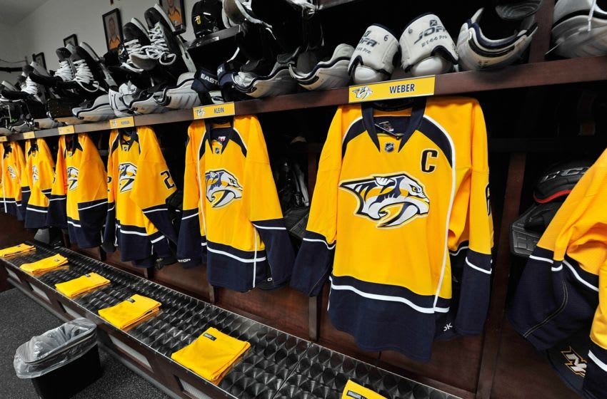 NASHVILLE, TN - JANUARY 19: The jersey of Shea Weber #6 of the Nashville Predators hangs in the locker room prior to the season opener against the Columbus Blue Jackets at Bridgestone Arena on January 19, 2013 in Nashville, Tennessee. (Photo by Frederick Breedon/Getty Images)