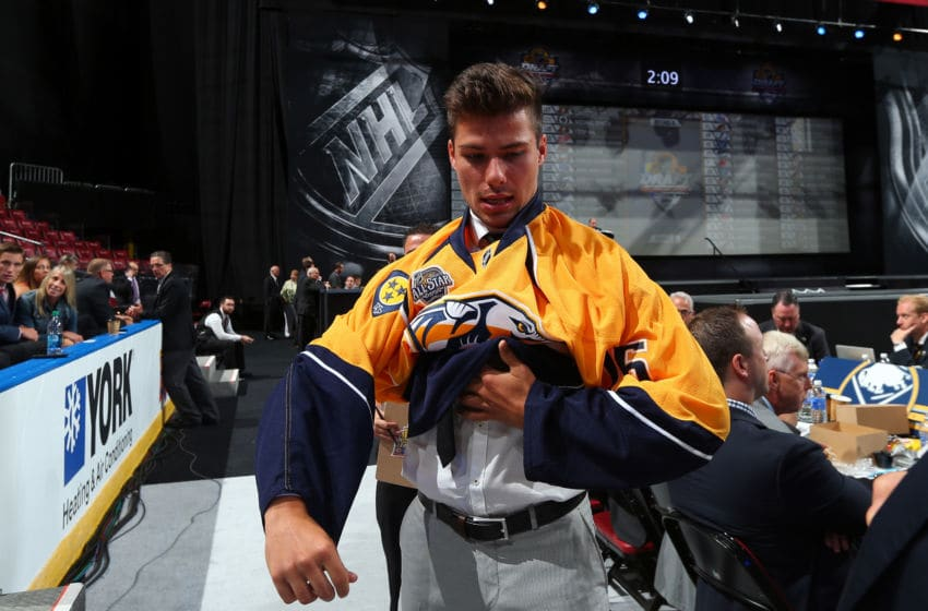 SUNRISE, FL - JUNE 27: Alexandre Carrier reacts after being selected 115th overall by the Nashville Predators (Photo by Bruce Bennett/Getty Images)