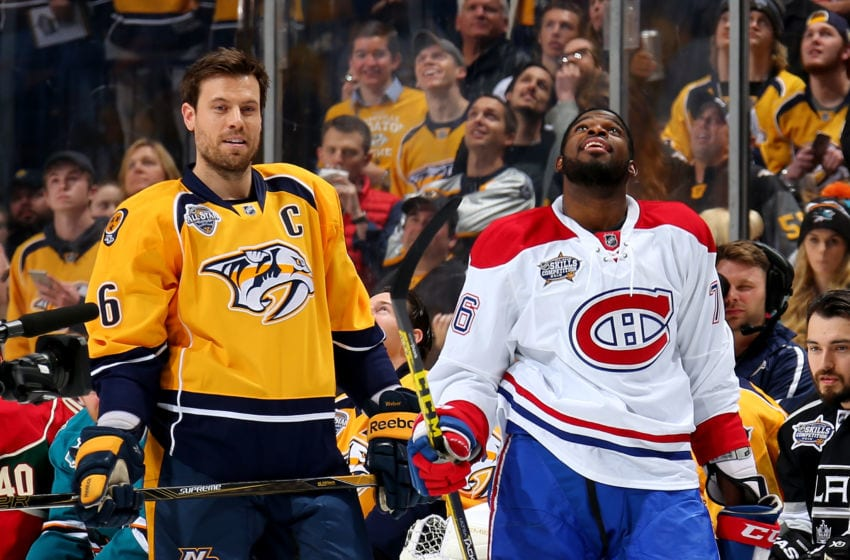 NASHVILLE, TN - JANUARY 30: Shea Weber #6 of the Nashville Predators and P.K. Subban #76 of the Montreal Canadiens (Photo by Bruce Bennett/Getty Images)