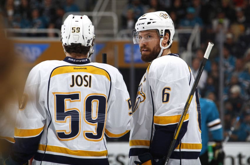 SAN JOSE, CA - MAY 7: Roman Josi #59 and Shea Weber #6 of the Nashville Predators (Photo by Rocky W. Widner/NHL/Getty Images)