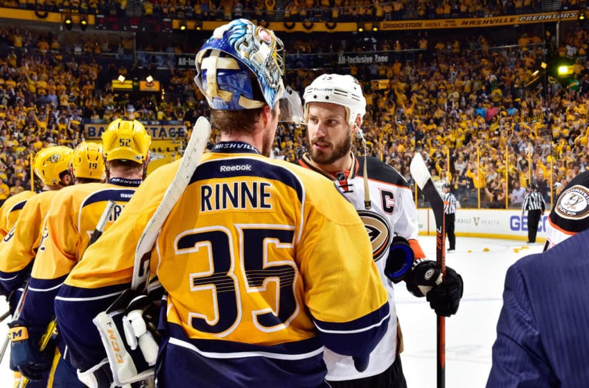NASHVILLE, TN - MAY 22: Ryan Getzlaf #15 of the Anaheim Ducks shakes hands with Pekka Rinne #35 of the Nashville Predators after the Predators defeated the Ducks 6 to 3 in Game Six of the Western Conference Final during the 2017 Stanley Cup Playoffs at Bridgestone Arena on May 22, 2017 in Nashville, Tennessee. (Photo by Frederick Breedon/Getty Images)