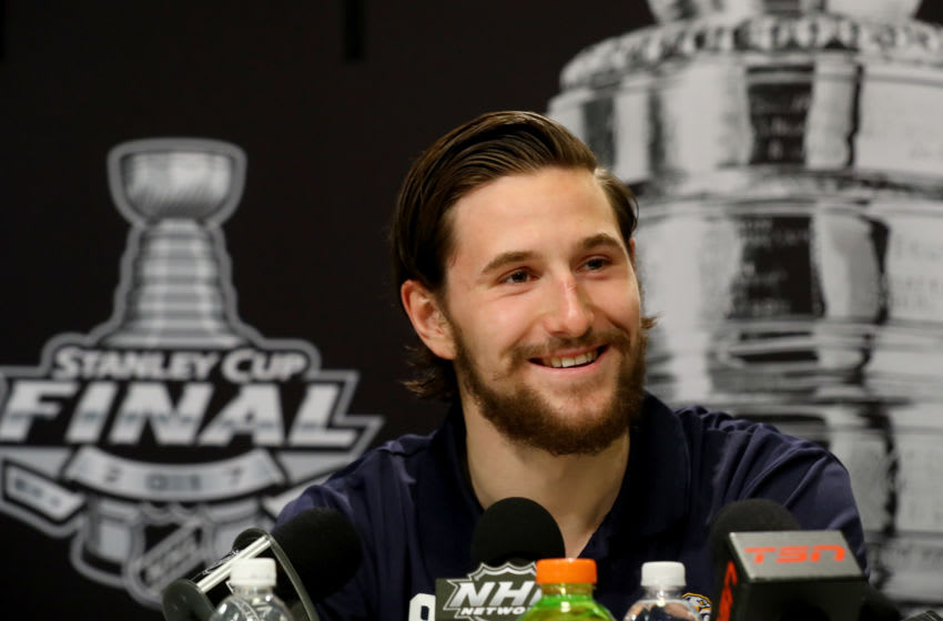 Filip Forsberg #9 of the Nashville Predators answers questions during Media Day for the 2017 NHL Stanley Cup Final at PPG PAINTS Arena on May 28, 2017 in Pittsburgh, Pennsylvania. (Photo by Bruce Bennett/Getty Images)