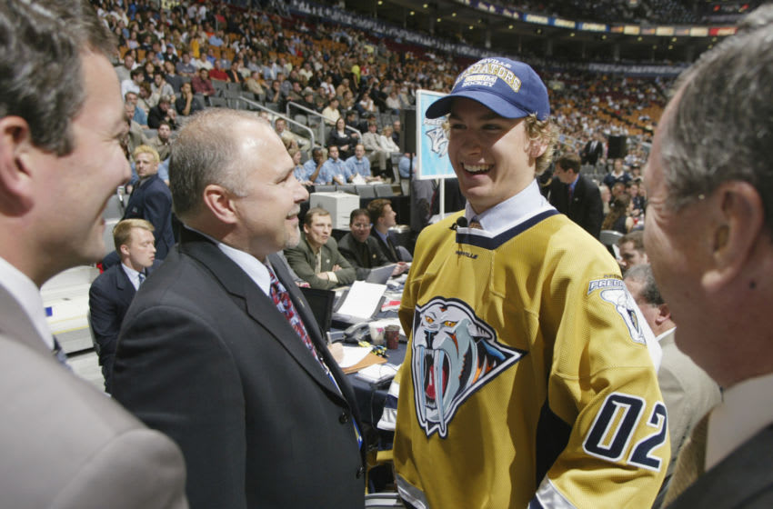 Sixth overall draft pick Scottie Upshall, selected by the Nashville Predators (Photo by Tom Pidgeon/Getty Images/NHLI)