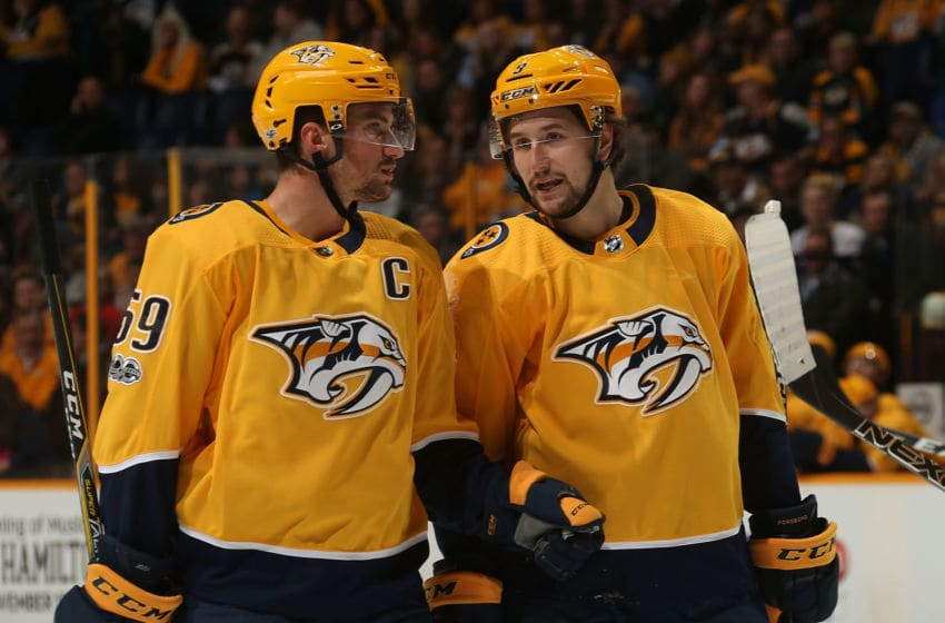 Roman Josi #59 of the Nashville Predators Filip Forsberg (Photo by Frederick Breedon/Getty Images)