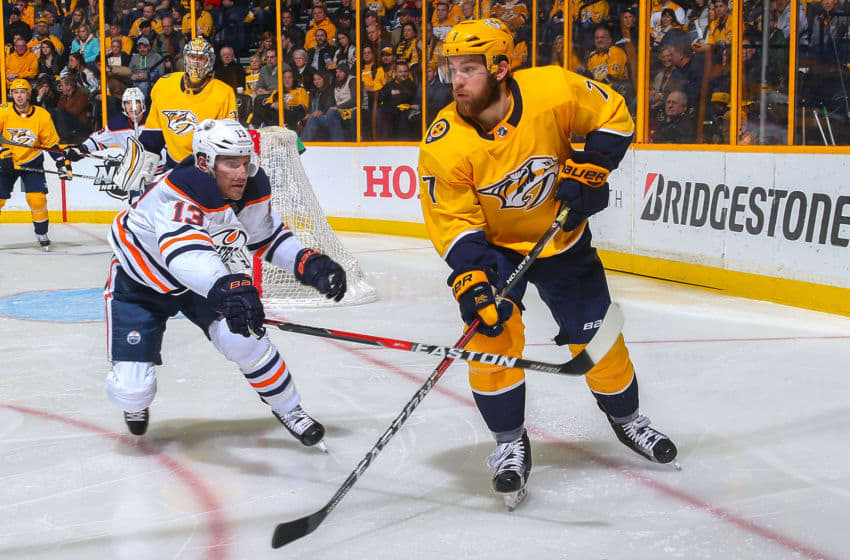 NASHVILLE, TN - JANUARY 09: Michael Cammalleri #13 of the Edmonton Oilers skates against Yannick Weber #7 of the Nashville Predators during the second period at Bridgestone Arena on January 9, 2018 in Nashville, Tennessee. (Photo by Frederick Breedon/Getty Images)