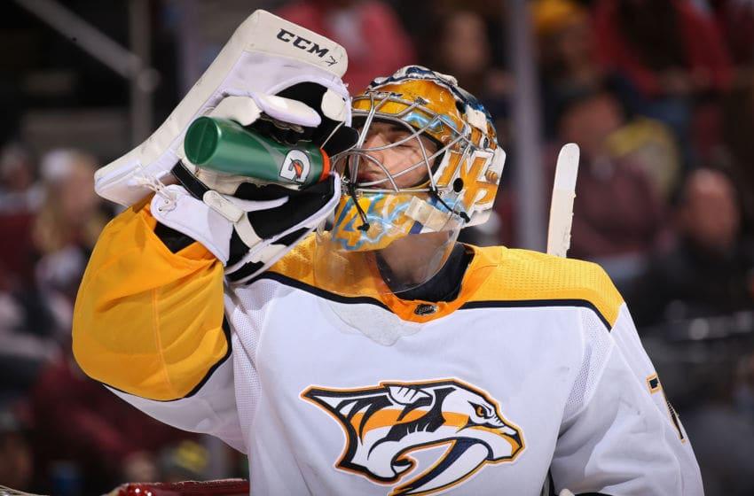 Goaltender Juuse Saros #74 of the Nashville Predators (Photo by Christian Petersen/Getty Images)