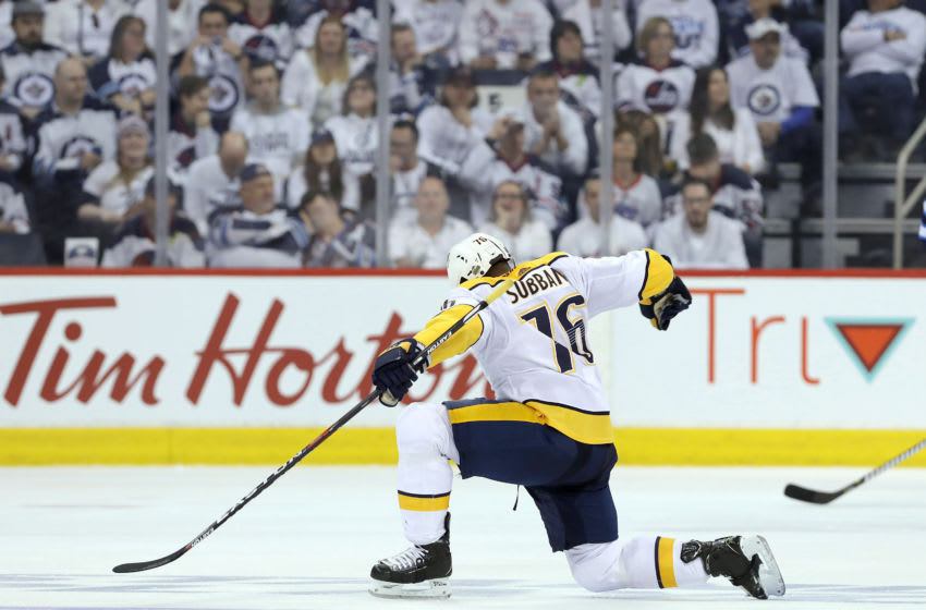 WINNIPEG, MANITOBA - MAY 3: P.K. Subban #76 of the Nashville Predators celebrates his goal against the Winnipeg Jets in Game Four of the Western Conference Second Round during the 2018 NHL Stanley Cup Playoffs on May 3, 2018 at Bell MTS Place in Winnipeg, Manitoba, Canada. (Photo by Jason Halstead /Getty Images) *** Local Caption *** P.K. Subban