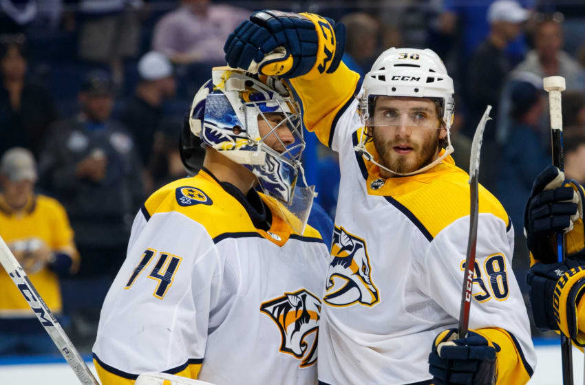 TAMPA, FL - APRIL 1: Goalie Juuse Saros #74 and Ryan Hartman #38 of the Nashville Predators celebrate the win against the Tampa Bay Lightning at Amalie Arena on April 1, 2018 in Tampa, Florida. (Photo by Scott Audette/NHLI via Getty Images)