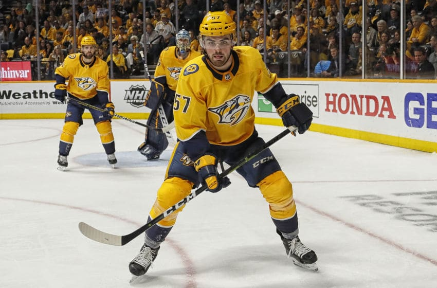 NASHVILLE, TENNESSEE - APRIL 20: Dante Fabbro #57 of the Nashville Predators plays against the Dallas Stars during the second period of Game Five of the Western Conference First Round during the 2019 NHL Stanley Cup Playoffs at Bridgestone Arena on April 20, 2019 in Nashville, Tennessee. (Photo by Frederick Breedon/Getty Images)