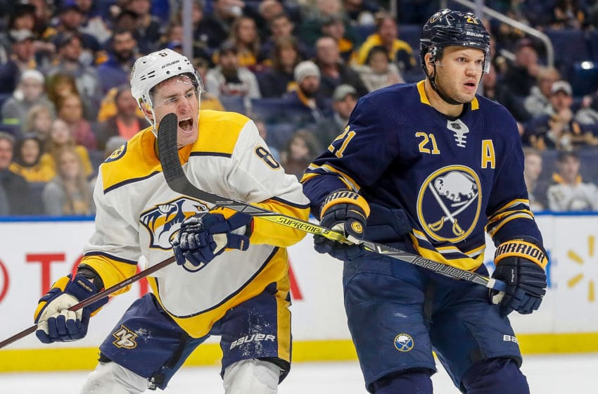 NASHVILLE, TN - MARCH 19: Kyle Turris #8 of the Nashville Predators battles against Kyle Okposo #21 of the Buffalo Sabres during an NHL game at KeyBank Center on March 19, 2018 in Buffalo, New York. (Photo by John Russell/NHLI via Getty Images)